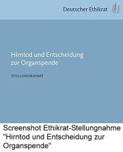 """Bild Screenshot Stellungnahme Deutscher Ethikrat """"Hirntod und Entscheidung zur Organspende"""" vom 24.02.15"""