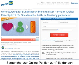 Screenshot Onlinepetition zur Pille danach